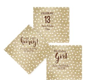 Personalized Girls Birthday Small Dots Lunch Napkins