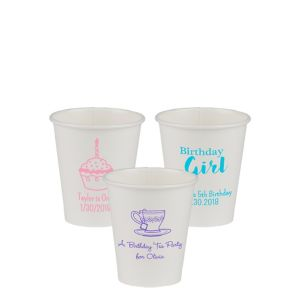 Personalized Girls Birthday Paper Cups 8oz