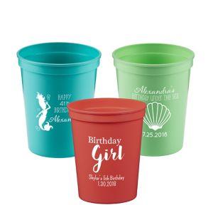 Personalized Girls Birthday Plastic Stadium Cups 16oz