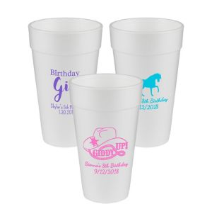 Personalized Girls Birthday Foam Cups 20oz