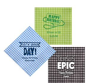 Personalized Boys Birthday Gingham Lunch Napkins