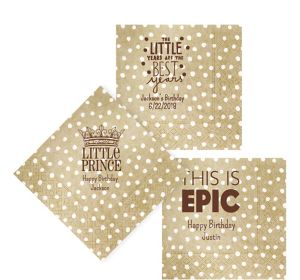 Personalized Boys Birthday Small Dots Lunch Napkins