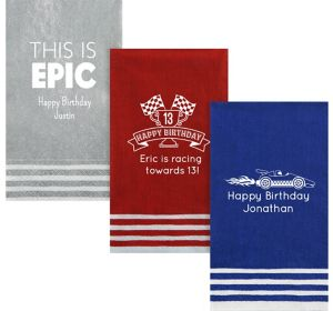 Personalized Boys Birthday Stripe Border Guest Towels