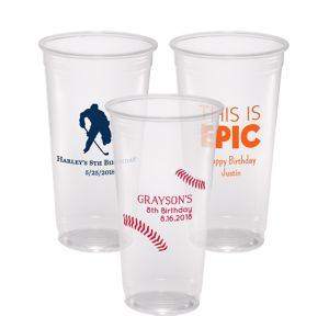 Personalized Boys Birthday Plastic Party Cups 24oz
