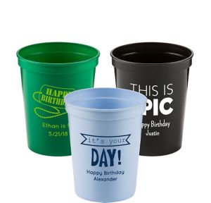 Personalized Boys Birthday Plastic Stadium Cups 16oz
