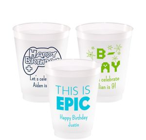 Personalized Boys Birthday Frosted Plastic Shatterproof Cups 16oz