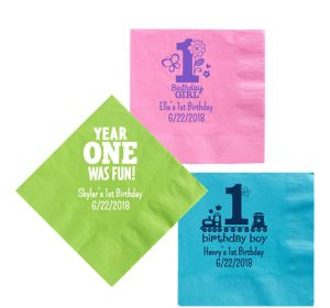 Personalized 1st Birthday Lunch Napkins