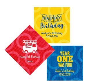 Personalized 1st Birthday Circles Lunch Napkins