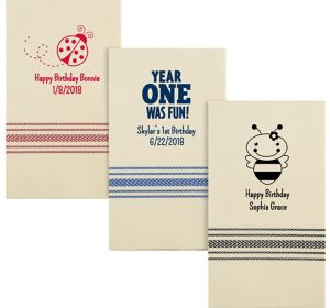 Personalized 1st Birthday Herringbone Guest Towels