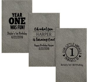 Personalized 1st Birthday Tweed Print Guest Towels