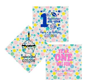 Personalized 1st Birthday Pastel Dots Lunch Napkins
