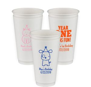 Personalized 1st Birthday Insulated Paper Cups 20oz