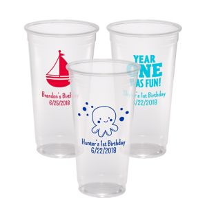 Personalized 1st Birthday Plastic Party Cups 24oz