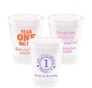 Personalized 1st Birthday Frosted Plastic Shatterproof Cups 16oz