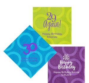 Personalized Milestone Birthday Circles Lunch Napkins