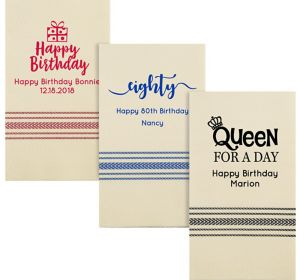 Personalized Milestone Birthday Herringbone Guest Towels