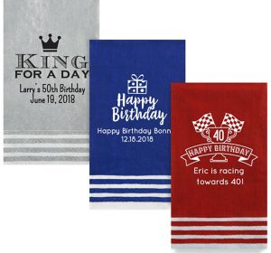 Personalized Milestone Birthday Stripe Border Guest Towels
