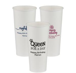Personalized Milestone Birthday Paper Cups 24oz