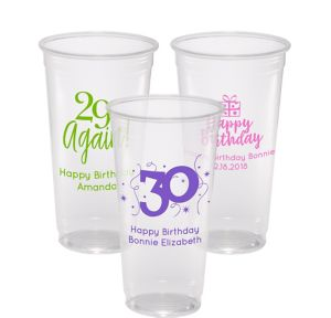 Personalized Milestone Birthday Plastic Party Cups 24oz