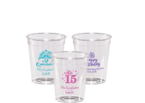 Personalized Milestone Birthday Hard Plastic Shot Glasses 2oz