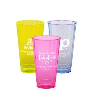 Personalized Milestone Birthday Neon Hard Plastic Cups 16oz