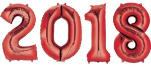 Red 2018 Number Balloons 4pc