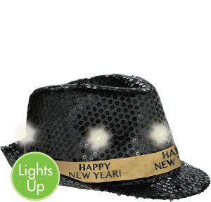 Light-Up Sequin Black New Year's Fedora