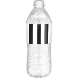 Black & White Striped Bottle Labels 24ct