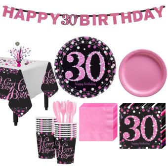 Pink Sparkling Celebration 30th Birthday Party Kit for 16 Guests