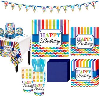 Rainbow Chevron Birthday Party Kit for 16 Guests