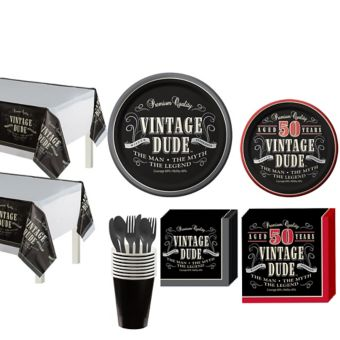 Vintage Dude 50th Birthday Party Kit for 16 Guests