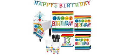 Rainbow 13th Birthday Party Kit for 16 Guests