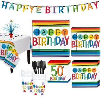 Rainbow 50th Birthday Party Kit for 16 Guests