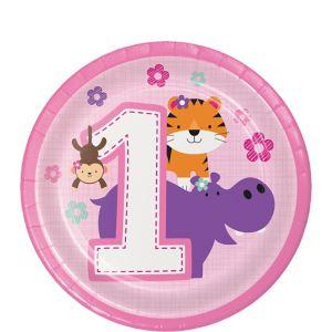 Pink One is Fun 1st Birthday Dessert Plates 8ct