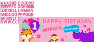 Giant Pink One is Fun 1st Birthday Banner Kit