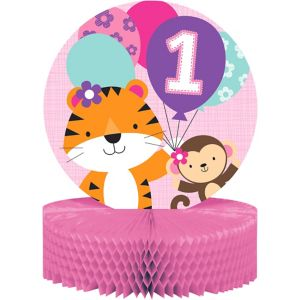 Pink One is Fun 1st Birthday Honeycomb Centerpiece
