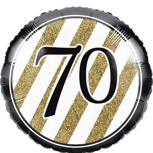 White & Gold Stripe 70 Balloon