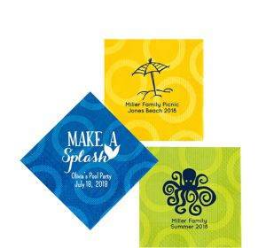 Personalized Summer Circles Beverage Napkins