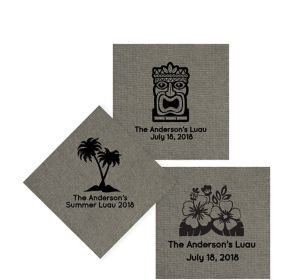 Personalized Luau Tweed Print Beverage Napkins