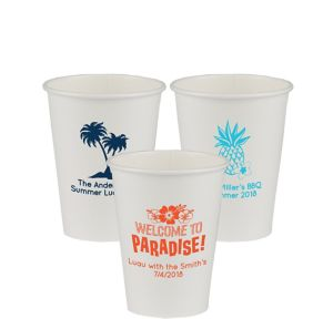 Personalized Luau Paper Cups 12oz