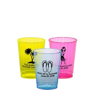 Personalized Luau Neon Hard Plastic Cups 10oz