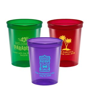 Personalized Luau Translucent Plastic Stadium Cups 16oz