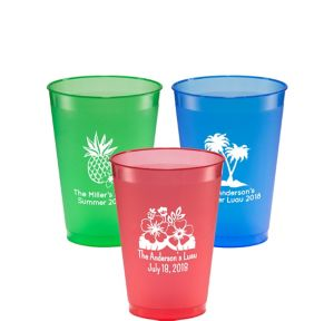 Personalized Luau Plastic Shatterproof Cups 12oz