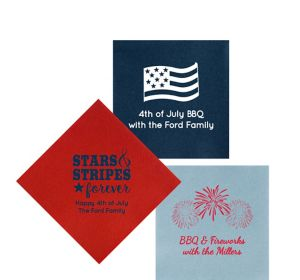 Personalized 4th of July Premium Beverage Napkins