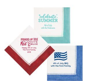 Personalized 4th of July Bordered Lunch Napkins