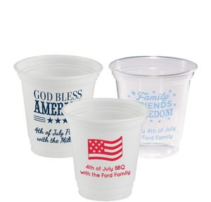 Personalized 4th of July Plastic Party Cups 12oz