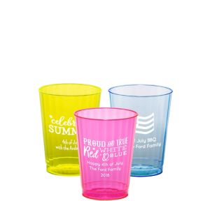 Personalized 4th of July Neon Hard Plastic Cups 10oz
