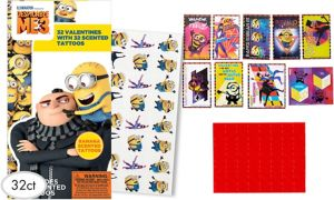 Despicable Me 3 Valentine Exchange Cards with Tattoos 32ct