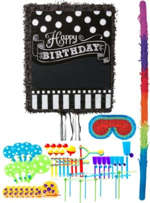 Personalized Chalkboard Birthday Pinata Kit with Favors