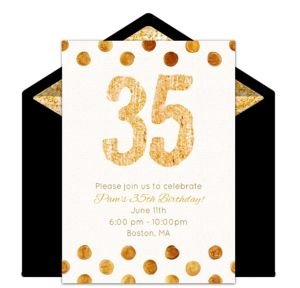 Online Golden 35 Invitations